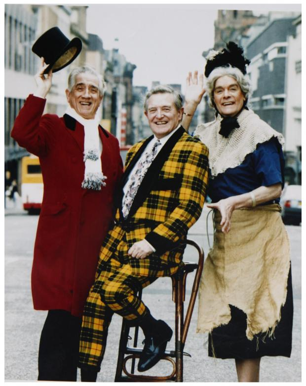 HeraldScotland: Beattie with fellow entertainers Jimmy Logan, centre, and Walter Carr