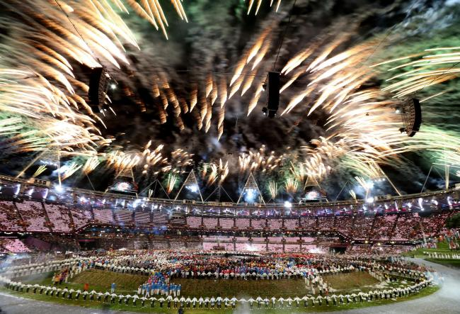 Fireworks at the opening ceremony of the London 2012 Olympic Games. Picture: Mike Egerton/PA Wire
