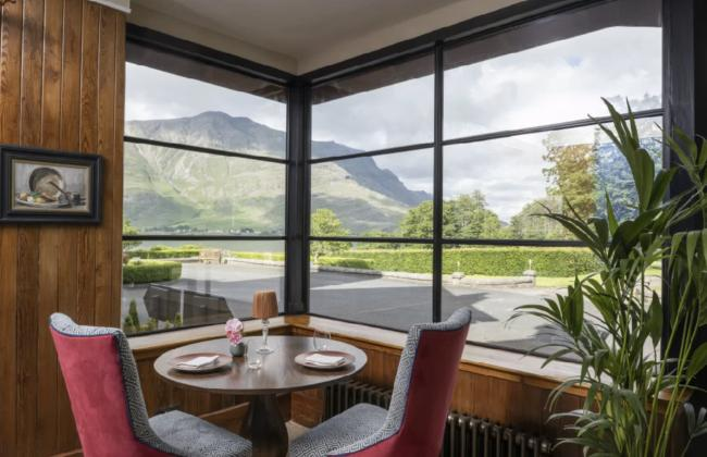 The Restaurant with a view at The Loch Torridon Hotel.
