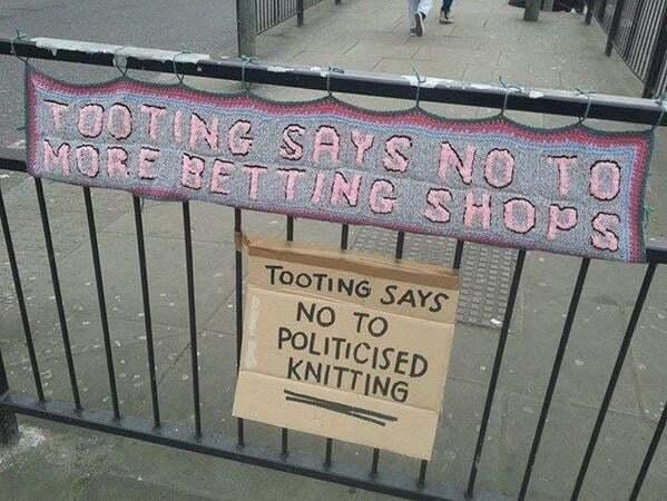A READER spotted these signs in South London where locals are proving antagonistic towards woolly thinking.