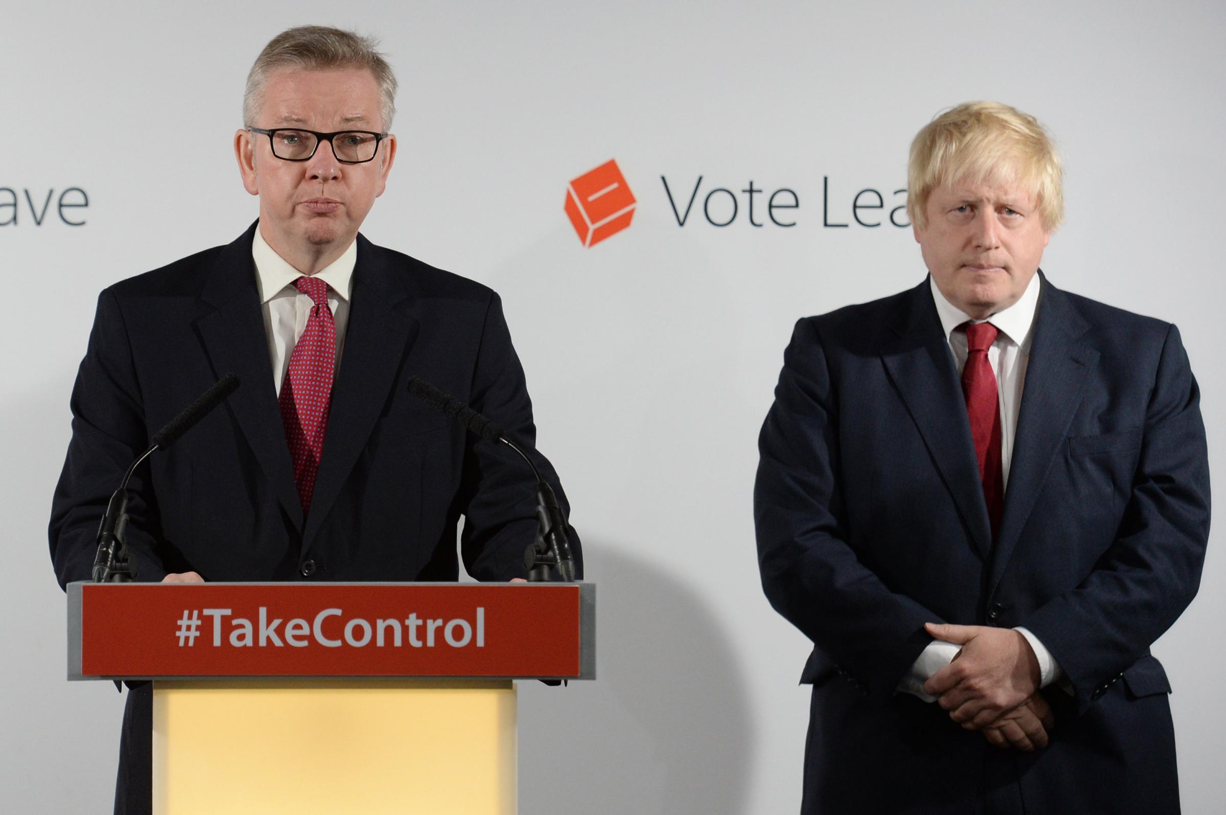 Michael Gove MP (L) speaks during a press conference as Boris Johnson looks on Picture: Stefan Rousseau - WPA Pool/Getty Images