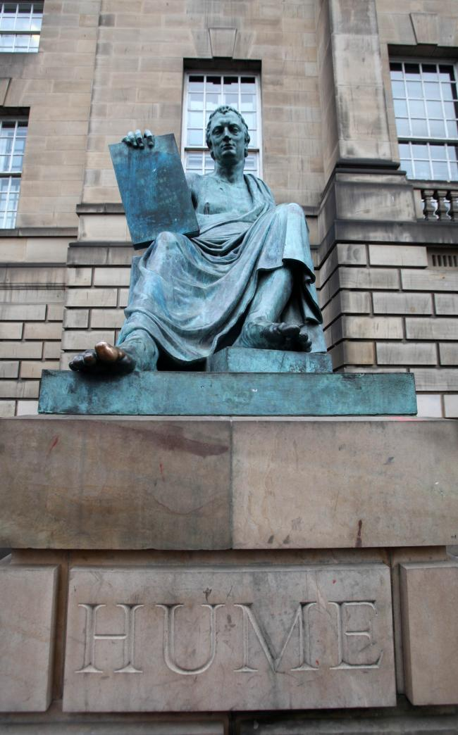 David Hume as portrayed in a statue on Edinburgh's Royal Mile