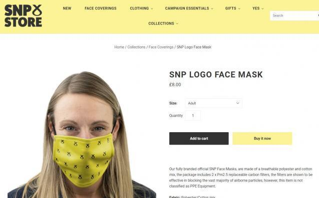 The SNP are advertising branded face masks on the party's website