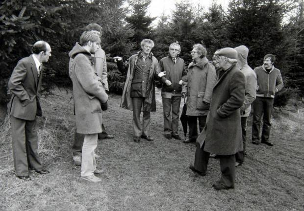 HeraldScotland: Members of the British UFO Research Association National Conference with Robert Taylor at the site he saw a UFO near Livingston, West Lothian, in 1979