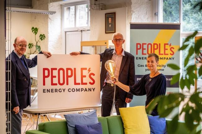 Russel Griggs, chairman of South of Scotland Enterprise, with David Pike and Karin Sode of People's Energy