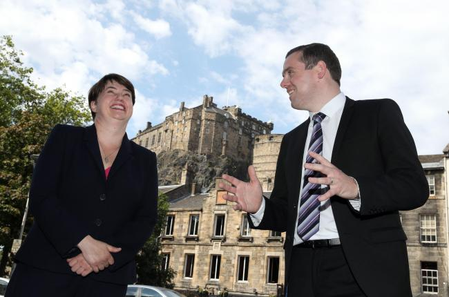 Former Scottish Conservative leader Ruth Davidson MSP alongside Scottish Conservative MP Douglas Ross in Edinburgh, after he confirmed he will stand for leadership of the Scottish Conservatives following the sudden resignation of Jackson Carlaw after less