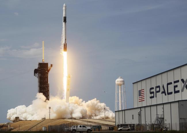 The SpaceX Falcon 9 rocket with the manned Crew Dragon spacecraft attached takes off from launch pad 39A at the Kennedy Space Center on May 30, 2020 in Cape Canaveral, Florida