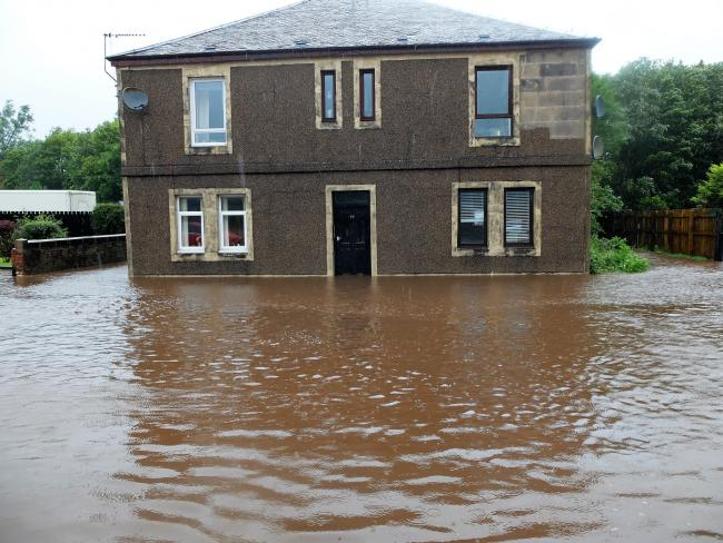 Councillor Donald L Reid took this picture of flooding in Glengarnock