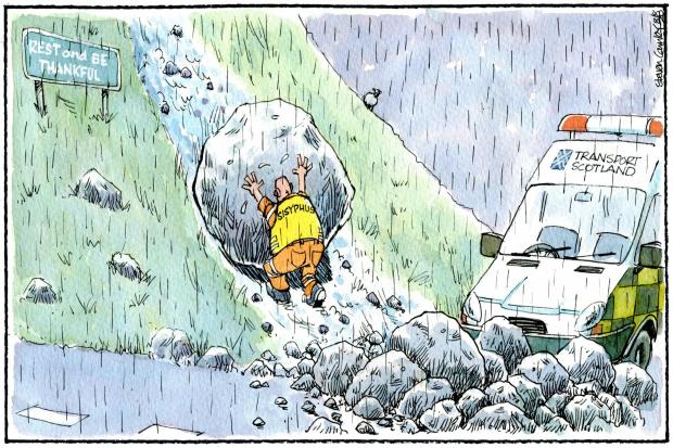 Camley's Cartoon on Saturday, August 8: A83 closed yet again