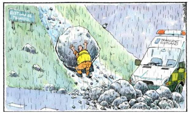 HeraldScotland: Camley's Cartoon: Landslip at the Rest and be Thankful.