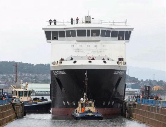 The ferry MV Glen Sannox in dry dock in Greenock on major step to completion after a series of problems
