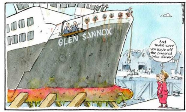 HeraldScotland: Camley's Cartoon: Work on delayed ferry progresses.