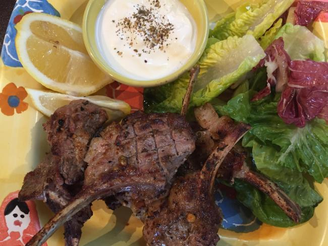 Marinated spiced lamb cutlets