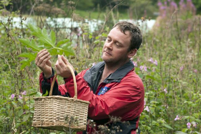 Mark Williams of Galloway Wild Foods fills his basket during Foraging Fortnight.