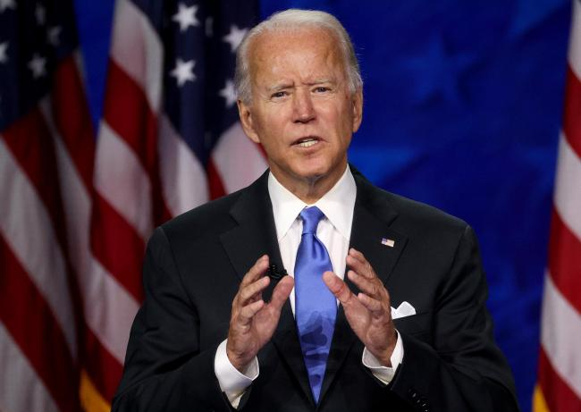 WILMINGTON, DELAWARE - AUGUST 20: Democratic presidential nominee Joe Biden delivers his acceptance speech on the fourth night of the Democratic National Convention from the Chase Center on August 20, 2020 in Wilmington, Delaware. The convention, which wa