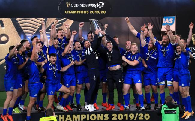 Leinster celebrate after winning the Guinness Pro14 final this year