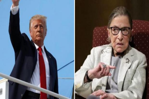 Watch: Angry crowd boos and chants 'vote him out!' as Donald Trump pays respects to Ruth Bader Ginsburg