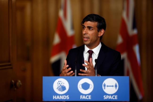 Chancellor of the Exchequer Rishi Sunak during a virtual news conference in Downing Street, London, after he presented his Winter Economy Plan to MPs in the House of Commons. PA Photo. Picture date: Thursday September 24, 2020. See PA story HEALTH Coronav