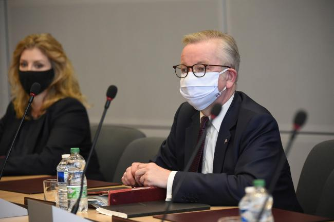 Chancellor of the Duchy of Lancaster Michael Gove, right, attends the third meeting of the EU-UK Joint Committee at EU headquarters in Brussels, Monday, Sept. 28, 2020. Chancellor of the Duchy of Lancaster Michael Gove on Monday met with Vice-President of
