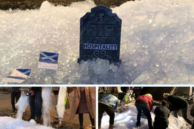 In pictures: Bartenders protest pub closures with ice protest in Scottish cities