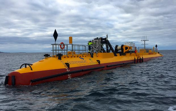 HeraldScotland: The SR2000 being deployed at EMEC tidal test site. By Orbital Marine Power (formerly Scotrenewables)