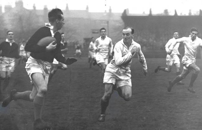 Christy Elliot, in action for the South of Scotland against Glasgow at Hughenden in 1958