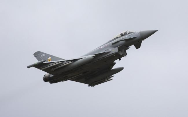 One of two Quick Reaction Alert (QRA) Typhoons that were scrambled from Leuchars Station in Fife on Wednesday morning