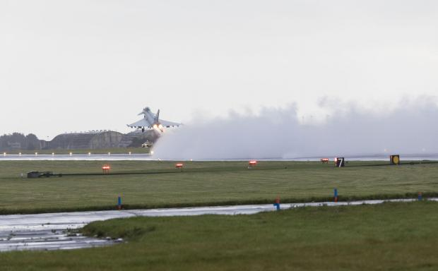 HeraldScotland: One of two Quick Reaction Alert (QRA) Typhoons that were scrambled from Leuchars Station in Fife on Wednesday morning