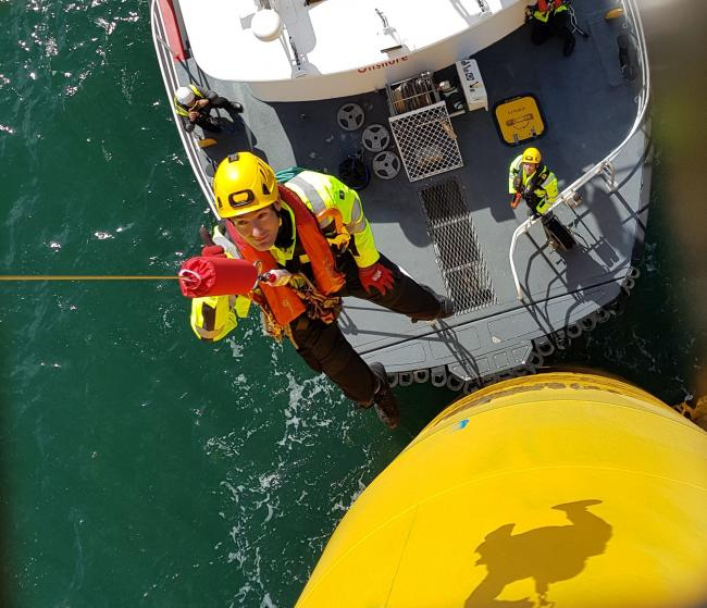 Pict Offshore managing director Philip Taylor being lifted on to a turbine using one of its Get Up Safe hoists