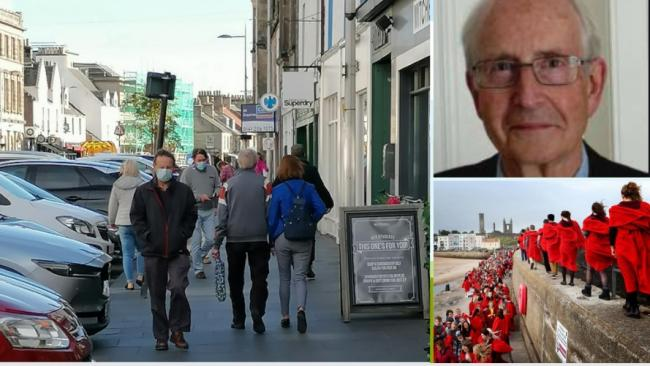 Professor Richard Olver (top right) said public health had not been considered; and (left) the area of Market Street which was previously sealed off to car parking