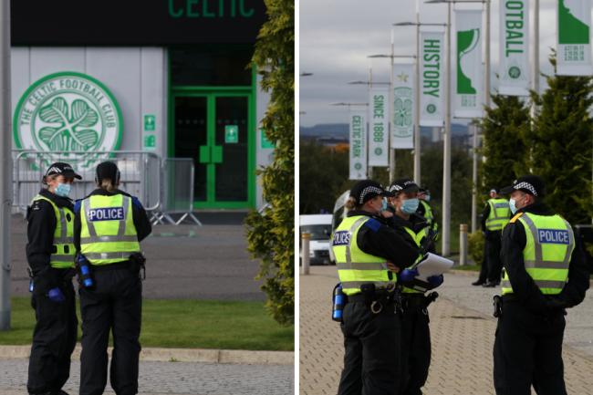 Police condemn group of fans gathered outside Celtic Park ahead of Old Firm game