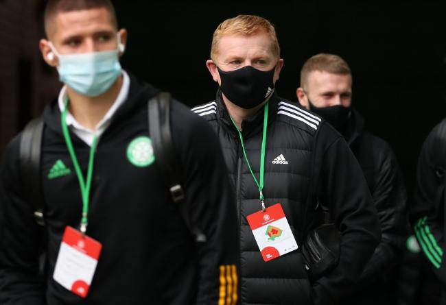 Celtic manager Neil Lennon, centre, on Saturday.