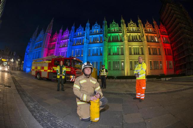 Key workers are thanked with rainbow using Marischal College's new lighting system