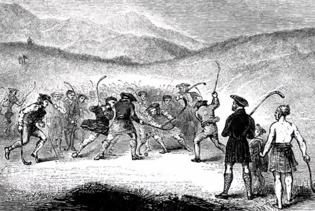 An image of a centuries-old engraving of shinty being played in the Highlands