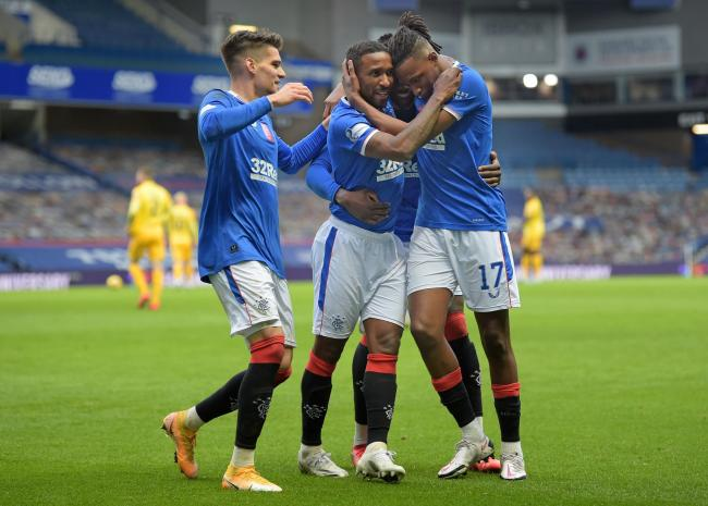 Rangers' Jermain Defoe celebrates scoring his sides second goal during the Scottish Premiership match at Ibrox