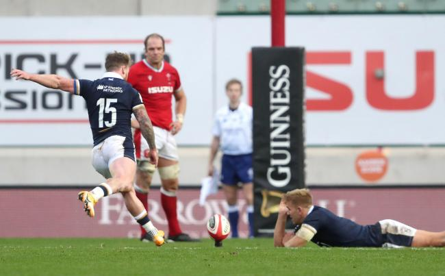 Scotland captain Stuart Hogg steps up to score his side's third penalty to make sure of victory over the Welsh in Llanelli