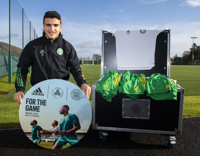 Moi Elyounoussi helps announce that the Celtic FC Foundation, in collaboration with Celtic's official kit supplier adidas, have awarded eight local grassroots and amateur teams a full set of adidas Teamwear kits.
