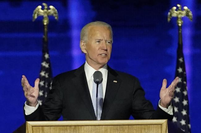 President-elect Joe Biden addresses the nation from the Chase Center in Wilmington, Delaware