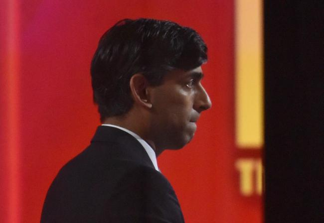 The Chancellor, Rishi Sunak, prepares to be interviewed on The Andrew Marr Show last Sunday. Picture Jeff Overs/BBC/PA