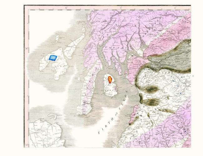 Firth of Clyde, geological map, William Smith copyright University of Oxford Natural History Museum.