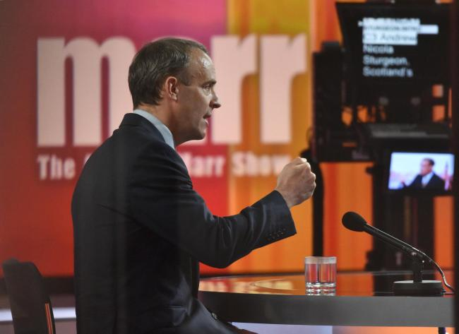 Foreign Secretary Dominic Raab appearing on The Andrew Marr Show. Jeff Overs/BBC/PA