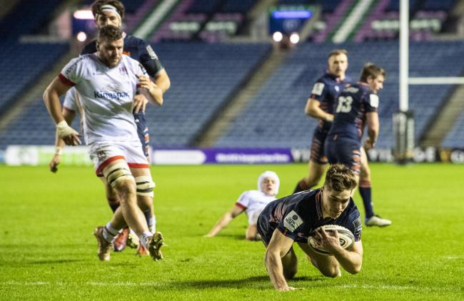 Jack Blain scores the first of his two tries at BT Murrayfield
