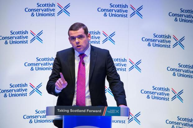 HeraldScotland: Perth, Scotland, UK. 21 November 2020. .Pictured: Douglas Ross MP gives closing key note speech at the Scottish Conservative and Unionist Party Conference 2020 at Perth Concert Hall. .Credit: Colin D Fisher/CDFIMAGES.COM.