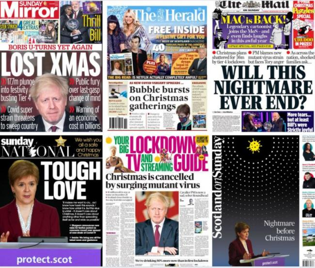 'Nightmare before Christmas' Covid restrictions dominate the Sunday front pages