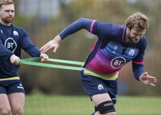 EDINBURGH, SCOTLAND - OCTOBER 16: Richie Gray during a Scotland visual access session at Oriam, on October 16, 2020, in Edinburgh, Scotland (Photo by Craig Williamson / SNS Group).