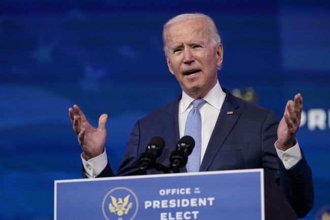 President-elect Joe Biden speaking speaks in Wilmington, Delaware, on Wednesday, where he called the violent protests on the Capitol