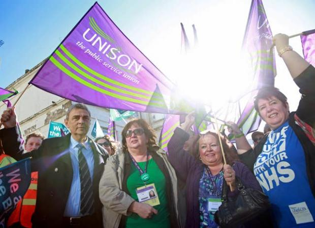HeraldScotland: Christina McAnea (2nd left) has succeeded Dave Prentis (left) as Unison general secretary