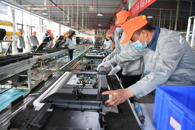 LCD and OLED TVs being manufactured in Chengdu, Sichuan Province of China.