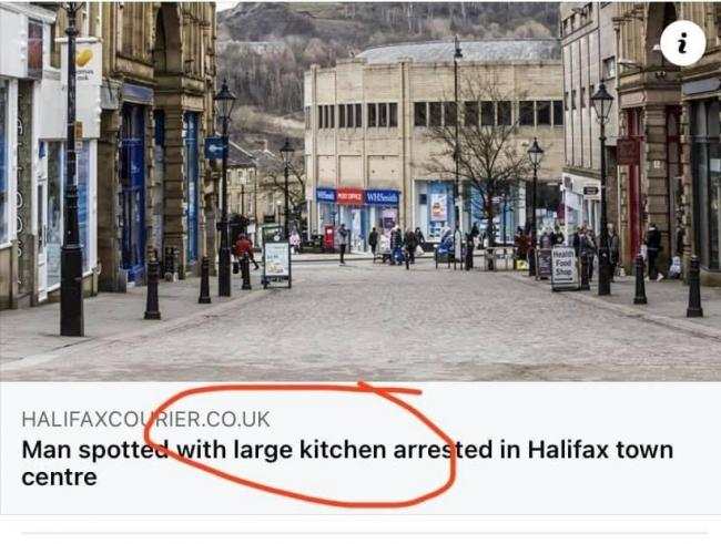 Bob Jamieson spotted this intriguing headline in his local newspaper. Either a very sharp word has been omitted or the chaps in Halifax are exceedingly strong, being able to drag whole rooms around with them.