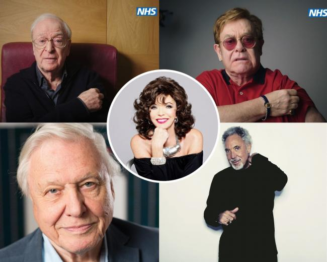 Celebrities who have received the Covid vaccine. Photography of Sir Michael Caine and Sir Elton John by NHS England/PA Wire. Sir David Attenborough photograph by David Parry/PA Wire